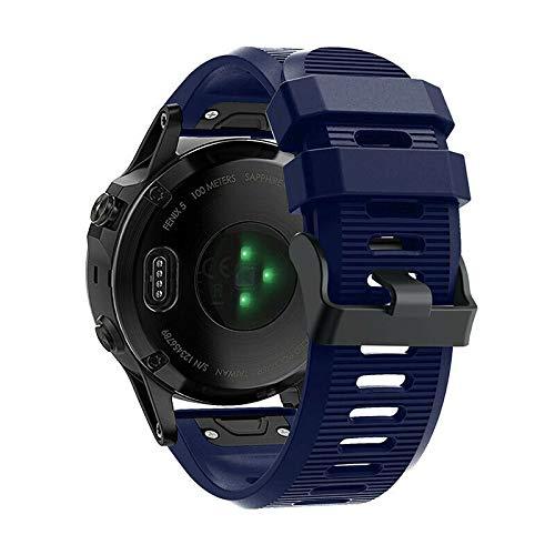 BNBUKLTD - Correa de silicona para reloj inteligente Garmin (liberación rápida), Hombre, color Azul marino normal., tamaño 6X