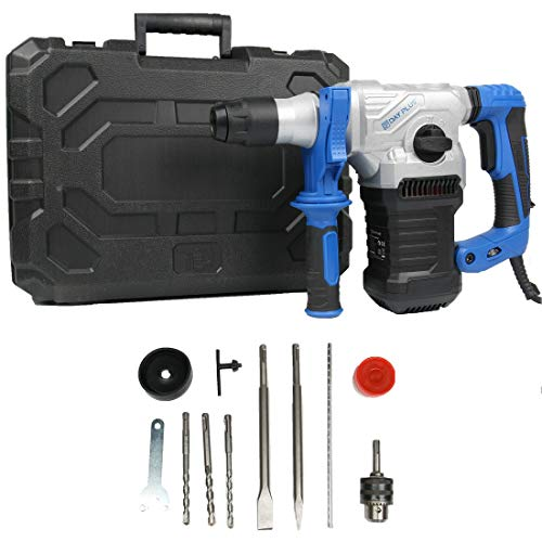 SDS Plus Drill Bits 1500W Brushless Rotary Hammer Corded Drills Home Workshop DIY Power Tools Concrete Tile Breaker Demolition Hammer Impact Chisel Bits Kit with Case