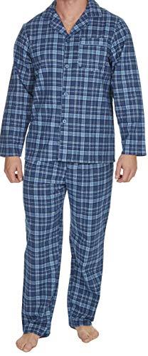 Insignia Herren Flanell-Pyjama, 100 % Baumwolle Gr. XL, blau kariert