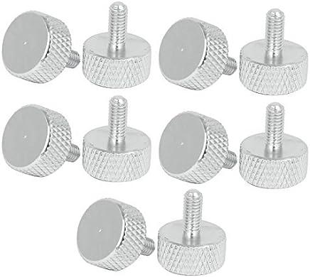 DealMux Tarjeta gráfica del ordenador M3.5x8mm cabeza plana Tornillos moleteados pulgar tono plateado 10pcs