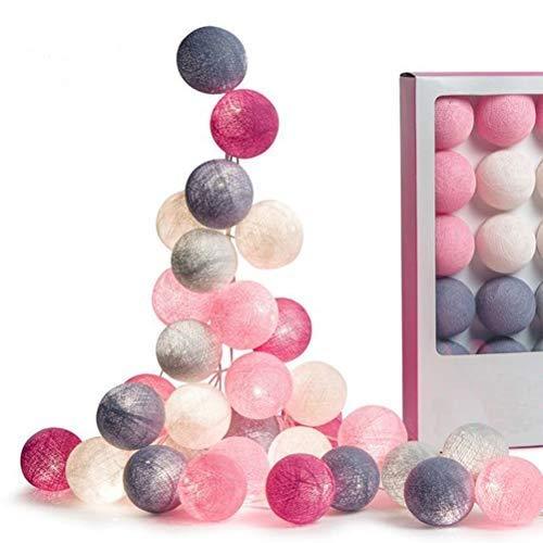Jackallo - Cadena de luces LED para exteriores, para bodas, Navidad, dormitorio, decoración de exteriores, color rosa, blanco y gris