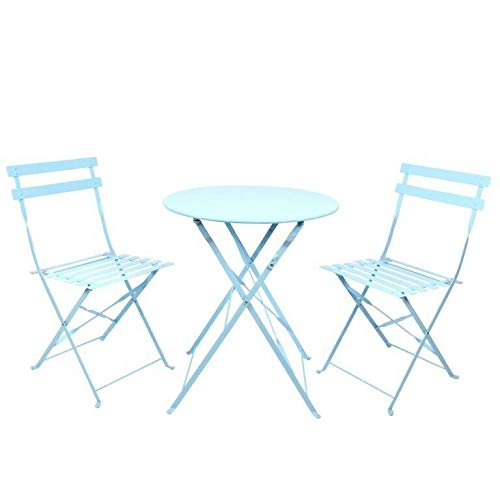 Blue Steel Bistro Foldable Table and Chair Set 3 Piece Garden Patio Balcony Terrace Weather Resistant Furniture 2 Seater (702mm x 598mm x 598mm)