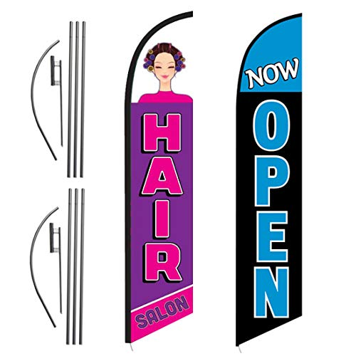 FFN Hair Salon and Now Open 15ft Outdoor Advertising Feather Swooper Banner Flag Kit Sign with Ground Stake & Flagpole, Open Signs for Hair Salons