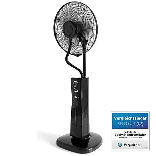 VASNER Standventilator Cooly, das Original - Ventilator mit Wasserkühlung, Wasser Sprühnebel, inkl. Fernbedienung, Timer-Funktion, Luftbefeuchter, leise, Nebelfunktion (Schwarz)
