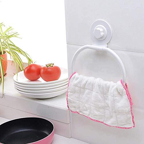 SEESEE.U - Soporte de pared para toallero con ventosa y gancho adhesivo, estante de perforación, para cocina, baño, papel higiénico, soporte para papel higiénico, gancho de succión para colgar trapos
