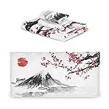 TropicalLife iRoad Juego de toallas de algodón 3 piezas Japón Mountain Cherry Flower altamente absorbentes Toallas faciales para baño y cocina