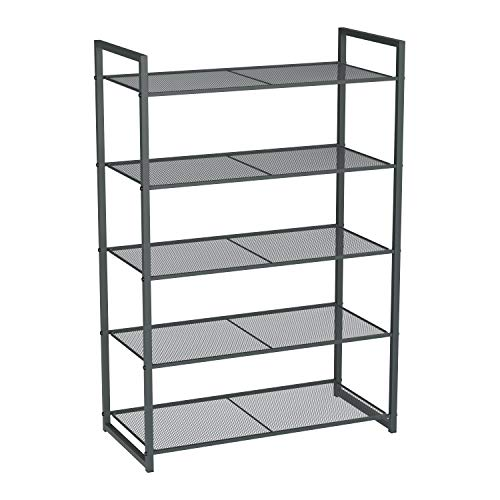 SONGMICS 5-Tier Shoe Rack, Stackable Shoe Organiser, 15-20 Pairs of Shoes, Metal Shoe Rack Storage, 24.8 x 11.8 x 36.2 Inches, Smoky Gray ULMR85GC