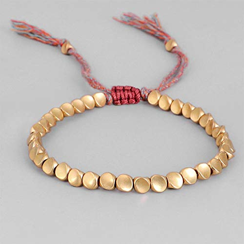 shangwang Handmade Tibetan Buddhist Braided Cotton Copper Beads Lucky Rope Bracelet & Bangles For Women Men Thread Bracelets CopperBeads
