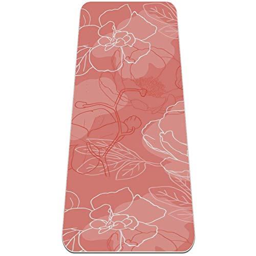 BestIdeas Esterilla de yoga floreciente peonía fondo de coral para yoga, pilates, ejercicio de suelo para hombres, mujeres, niños, niños, principiantes, diseño antideslizante