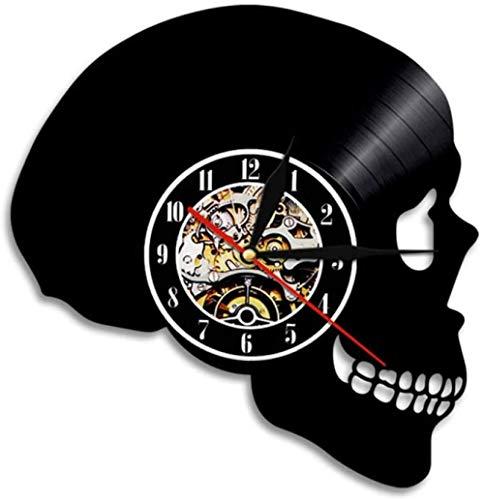 zgfeng Variación de Color Reloj de Pared de Vinilo de Calavera Horror de Halloween Silueta de Calavera Decoración de Pared Luz-con LED