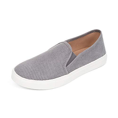 FUNKYMONKEY Women's Slip On Sneakers Preforated Comfortable Walking Casual Shoes (10 M US, Dk Grey)