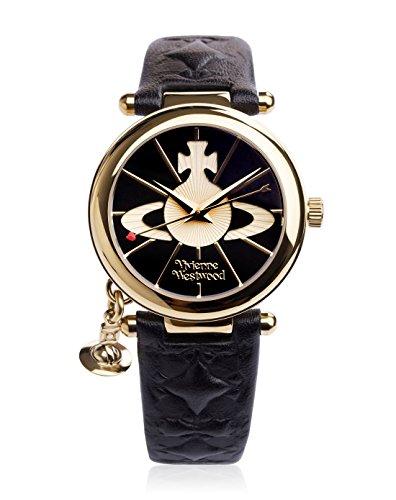 Vivienne Westwood Ladies Orb II Black Leather Strap Watch