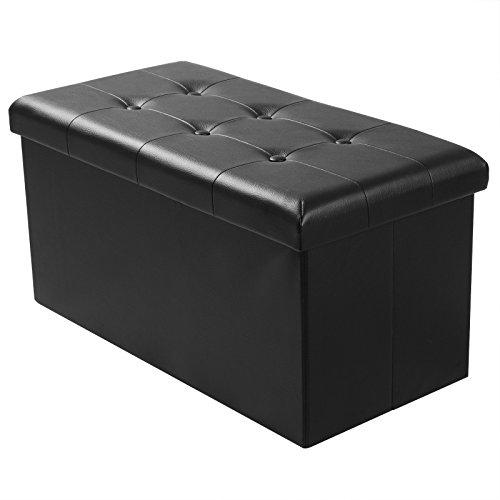 WOLTU® Sitzhocker mit Stauraum Sitzbank faltbar Truhen Aufbewahrungsbox, Deckel abnehmbar, Gepolsterte Sitzfläche aus Kunstleder, belastbar bis 300KG, 76x37,5x38CM, Schwarz, SH16sz