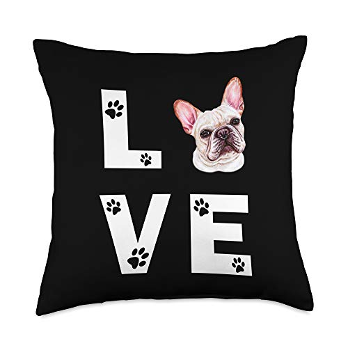 FRENCH BULLDOG Funny Dog Owner Gifts FRENCHIE Dog FRENCH BULLDOG Puppy Love Gift Throw Pillow, 18x18, Multicolor