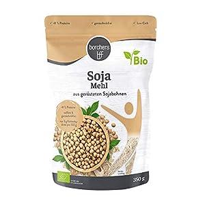 2 x borchers Harina de soja premium ecológica, vegetariana y vegana, con alto contenido de fibra y proteínas, de soja tostada 350 g