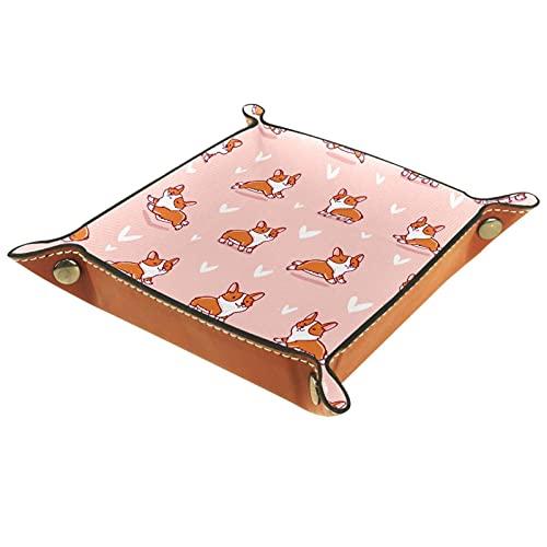 Bandeja de dados Corgi de dibujos animados rosa, bandeja de valet, cartera para llaves, bandeja para teléfono, regalo de Navidad para hombres y mujeres