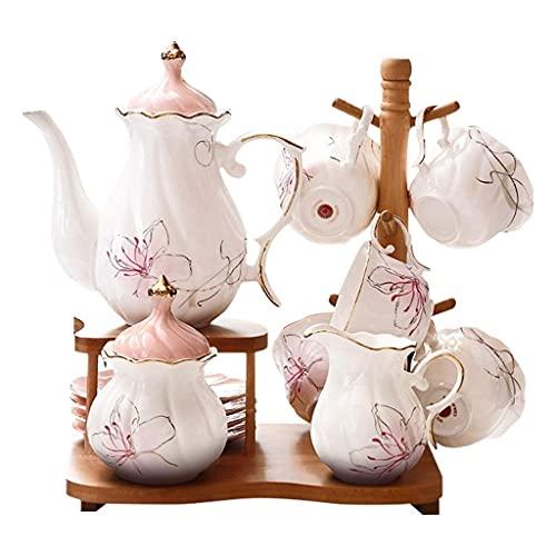Tea Set Afternoon Tea Set Set Household Coffee Cup Ceramic Teapot Set Flower Cup Wedding Tea Set Gift Tea Gift Sets (Color : Pink)