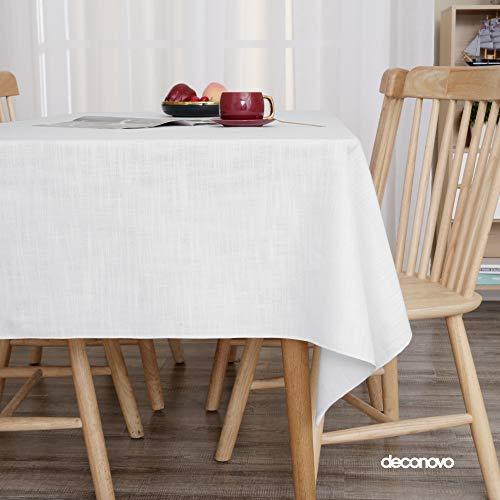 Deconovo Manteles Antimanchas de Tela Impermeable para Hogar Comedor Salon Elegante 132 x 178 cm Blanco