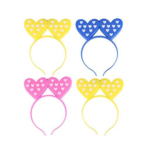 Minkissy Diademas con Luz Led para El Día de San Valentín 4 Piezas Diademas de Corazón de Amor Que Brillan El Día de San Valentín Aros de Pelo Diademas Accesorios de Fiesta de Disfraces de