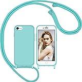 Nupcknn Funda Silicona Líquida con Cuerda para iPhone 7/8/iPhone SE 2020, Carcasa Suave Silicona Case con Correa Colgante Ajustable Collar Correa de Cuello Cadena Cordón(Azul)