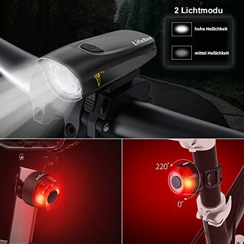 LIFEBEE LED Fahrradlicht, USB Fahrradbeleuchtung Fahrradlicht Vorne Rücklicht Set, Wasserdicht Fahrradlichter Set Fahrrad Licht Fahrradleuchtenset Fahrradlampe Frontlicht mit 2 Licht-Modi - 2
