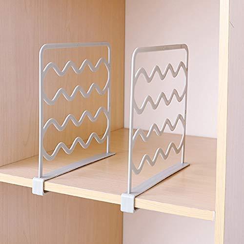 QLING - 2 separadores de estantes, prácticos separadores de armario para dormitorio, baño, cocina y oficina, sin taladrar, organizador de almacenamiento de armario (gris)
