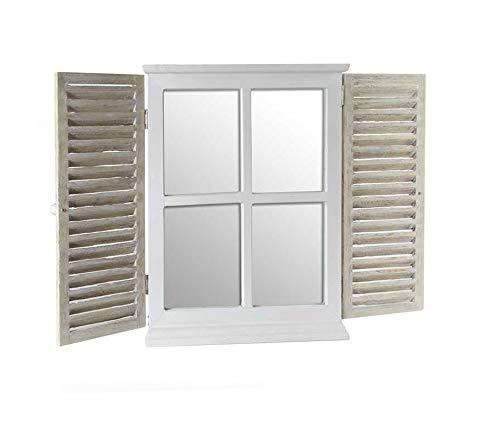 Vetrineinrete® Specchio a finestra da parete in legno naturale stile shabby chic con doppia anta richiudibile X2