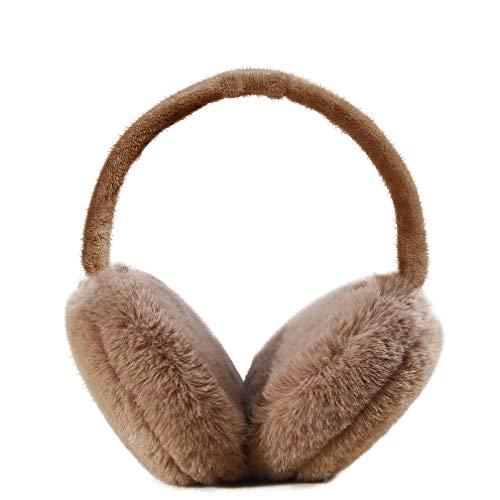 Ear Muffs for Winter Foldable Soft Ear Warmers Adjustable Wrap Faux Fur Earmuffs (Coffee)