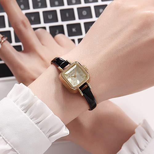 shangwang Niñas único cuadrado pequeño dial señoras reloj señoras correa de cuero fino reloj cuarzo oro rosa reloj de moda femenino oro oro oro
