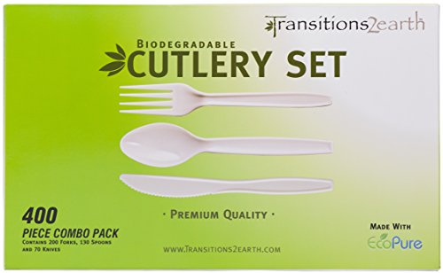 Transitions2earth Biodegradable EcoPure Fork, Knife, Spoon Combo Pack - Box of 400 (200 Forks + 130 Spoons + 70 Knives) - Plant a Tree with Each Item Purchased!