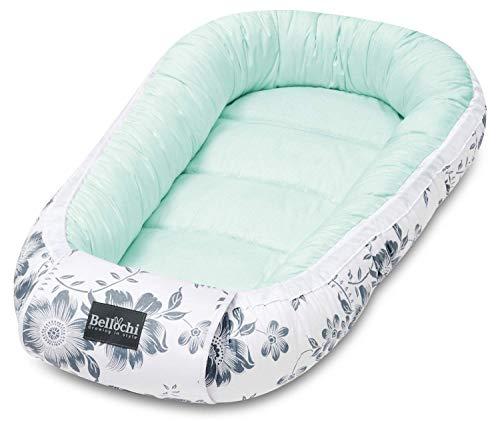Bellochi Babynest Babynestchen Neugeborene - 100{7dd1d2398eb29c0bb7c459a062681d99cdd51d4f82c276f10835601a830cfacb} Baumwolle - ÖKO-TEX zertifiziert - Baby Kuschelnest - 90x60x12cm - Mint