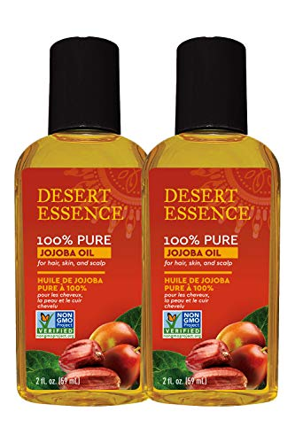 Desert Essence 100% Pure Jojoba Oil - 2 Fl Oz - Pack of 2 - Haircare & Skincare Essential Oil - All Skin Types - No Oily Residue - May Help Prevent Flakiness - Makeup Remover - Aftershave Moisturizer