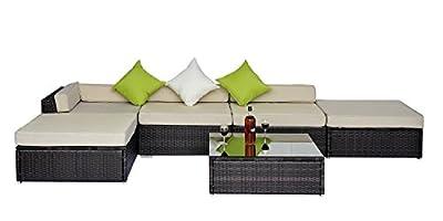 6pc Deluxe Rattan Wicker Furniture Conservatory /Outdoor Patio Corner Sofa Aluminium Set Mixed Brown FIRE RETARDANT SPONGE