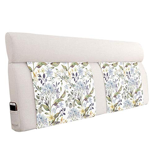 XLGJCWQY Bed Backrest Cushion without Headboard Soft Bedside Reading Headrest Pillow with Sponge Filling Washable, 6 Patterns (color : C, Size : 160X60cm)