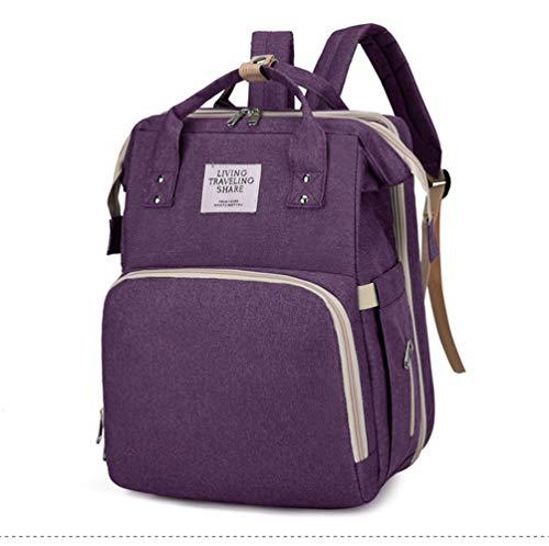 MiduoHu Mochila para Cambiar pañales para bebés, Bolsa para pañales Multifuncional para pañales Plegable, Bolsa para Cuna Plegable portátil para mamá, Bolsa para mamá y bebé (Color : Purple)