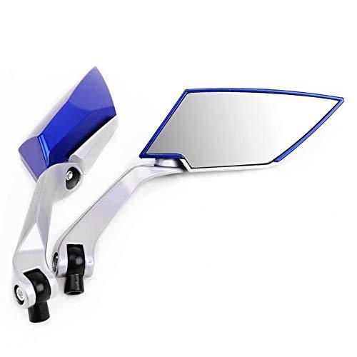 reflector de luz de espejo de motocicleta Par retrovisor for la motocicleta Vespa banda de rodadura Tornillo 8 mm 10 mm M8 M10 Color Azul (Color : Blue)