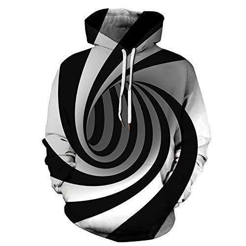 yyqx container Unisex realistische 3D-Mode Pullover Hoodie mit Kapuze Sweatshirt Pullover schwarz und weiß Whirlpool 3D Hoodie, XXL