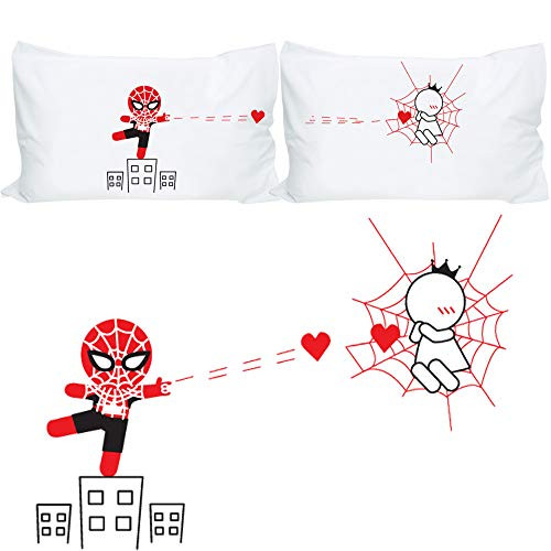 BoldLoft Captured by Your Love Couples Pillowcases-Funny Couples Gifts, Spiderman Gifts for Men, Gifts for Boyfriend Husband Christmas Anniversary Valentines Day, Superhero Gifts