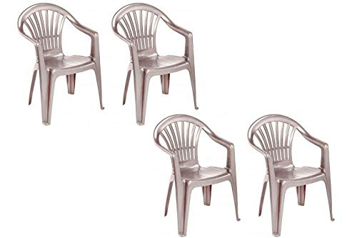 VTL 4 X Taupe Plastic Garden Chairs Low Back Seat Patio Partying Camping Stacking