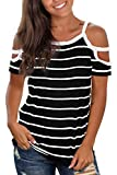 Jescakoo Summer Cold Shoulder Tops for Women Striped Short Sleeve T Shirts XL