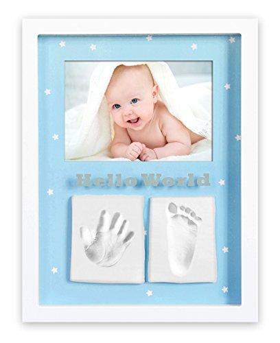 Marco de fotos para bebé para huella de mano y pie 3D, Portafotos de madera con molde de yeso, blanco,+ Regalo de un babero- Danielstore (21 X 26)