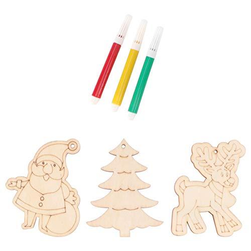 PRETYZOOM - 3 colgantes de madera para Navidad, con bolígrafos, para manualidades, pintar, madera, regalo, Papá Noel, reno, árbol de Navidad, colgante (aleatorio)
