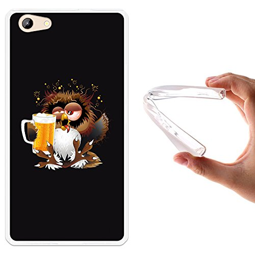 WoowCase Doogee Y300 Hülle, Handyhülle Silikon für [ Doogee Y300 ] Eule & Kirsche Handytasche Handy Cover Case Schutzhülle Flexible TPU - Transparent
