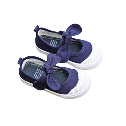 DEBAIJIA Babyschuhe Schule Segeltuch Turnschuhe Schleife Lauflernschuhe Fläche Schuhe für Kleinkind Anti-Rutsch Soft Sole Klettverschluss Kleinkindschuhe Geeignet, Marine, XXS (Herstellergröße: 22)