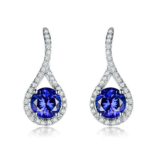 Daesar Pendientes Mujer Oro Blanco 18K,Gota de Agua Hueca con Redondo Tanzanita Azul 2.64ct Diamante 0.48ct,Plata Azul