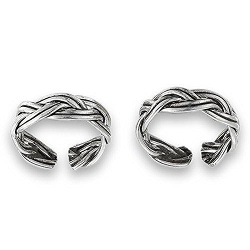 Celtic Double Braid Endless .925 Sterling Silver Twist Ear Cuff Earrings
