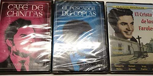 PACK 3 DVD ANTONIO MOLINA CAFE DE CHINITAS - EL PESCADOR DE COPLAS -EL CRISTO DE LOS FAROLES