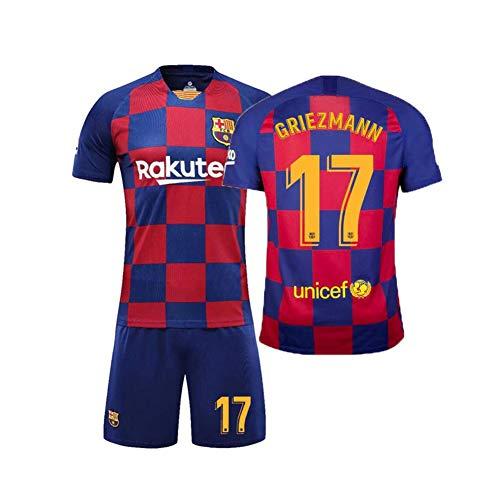LCHENX-Jungen # 17 Antoine Griezmann Fans Fußball Trikot T-Shirt und Hose, Atmungsaktives Trainings-T-Shirt-Set für Kinder in Barcelona,A,6Years