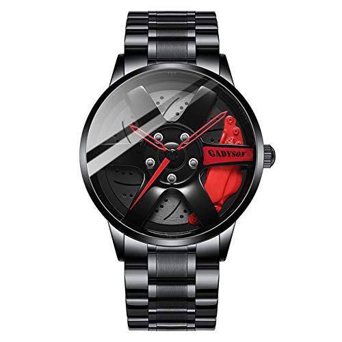 EVANA único Reloj Hombres Llantas Hub Reloj Deportivo Coche Rueda diseño Reloj de Acero Inoxidable Acero Inoxidableimpermeable Mecanismo de Cuarzo (Rojo+Acero Inoxidable)
