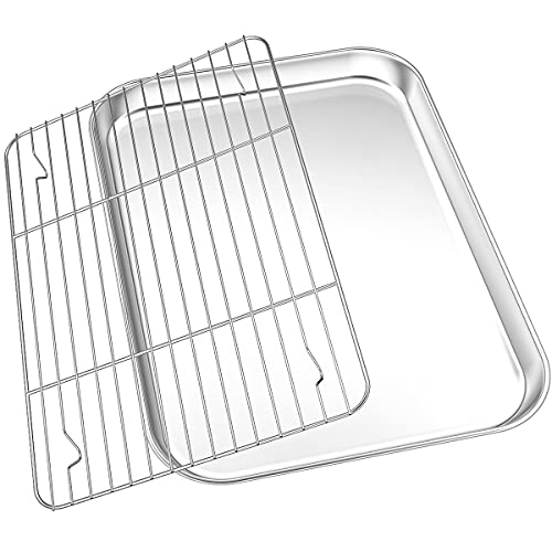 Toater Oven Tray Pan Set[Pan + Rack], WKTFOBM Stainless Steel Baking Sheet with Wire Cooling Rack Set(12.8' x 10' x 1.37' ), Heavy Duty Cookie Sheets for Baking,Non-Toxic,Easy Clean,Dishwasher Safe